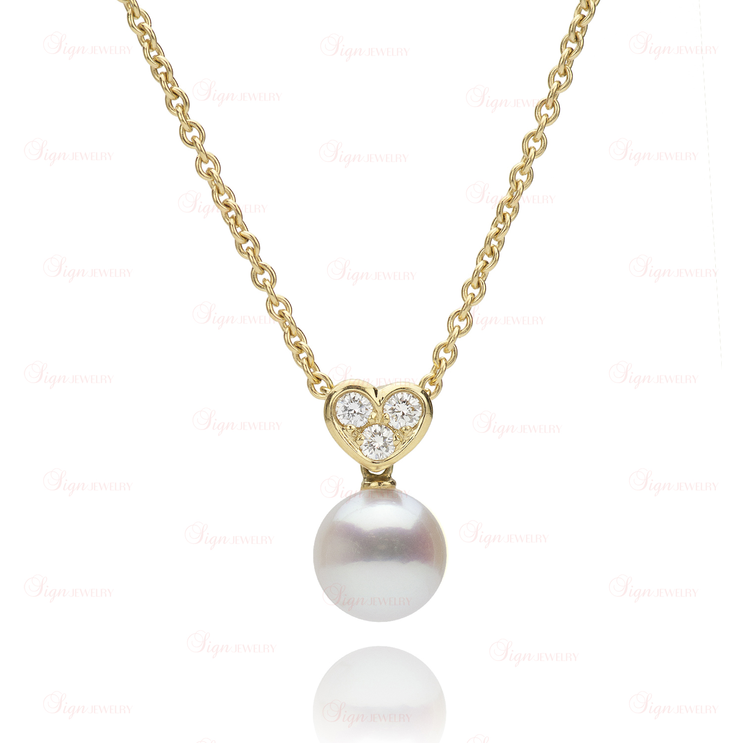 necklace diamond p akoya mikimoto pearl pendant heart