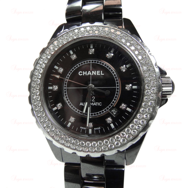 68e5a6fc3d6 CHANEL J12 Automatic 42mm Black Ceramic Original Diamond Bezel Watch