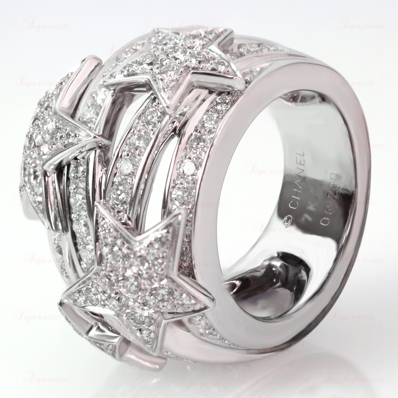 CHANEL Comet Diamond Star 18k White Gold Dome Ring
