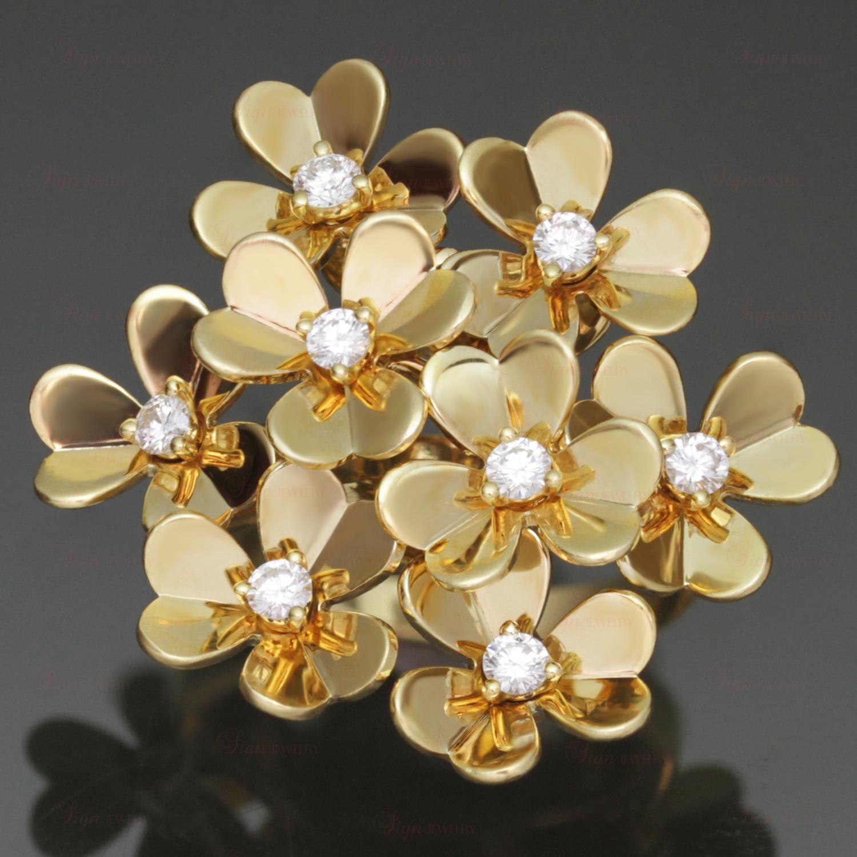 Van Cleef Amp Arpels Frivole 18k Diamond 8 Flower Size 52 Ring