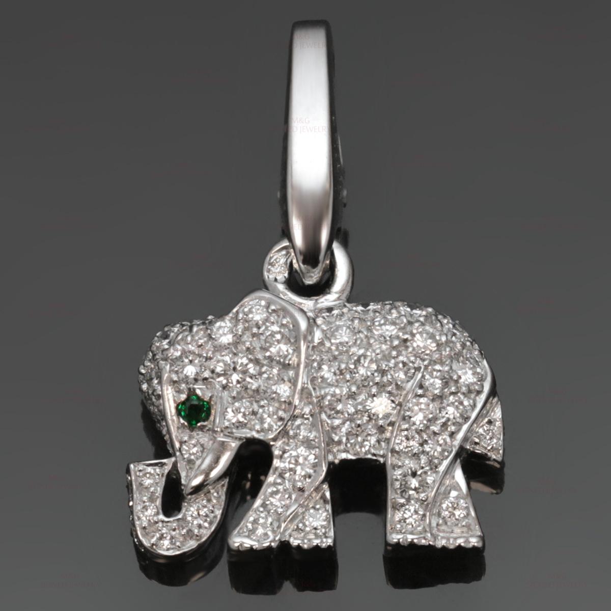 Cartier 18k white gold emerald diamond elephant charm pendant aloadofball Images
