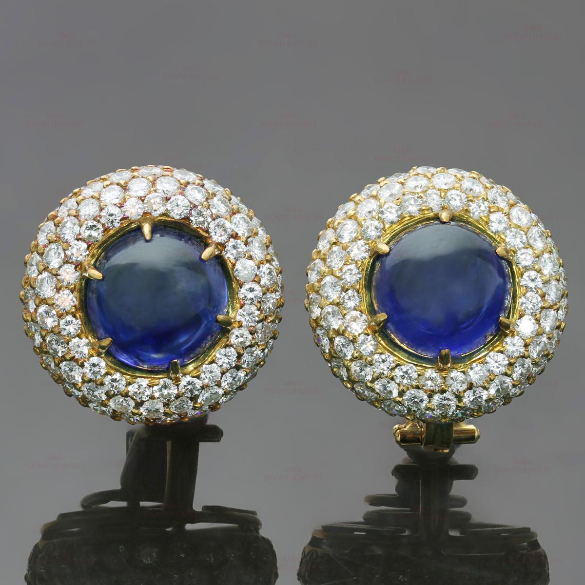 Harry Winston Exquisite Diamond Blue Sapphire 18k Yellow