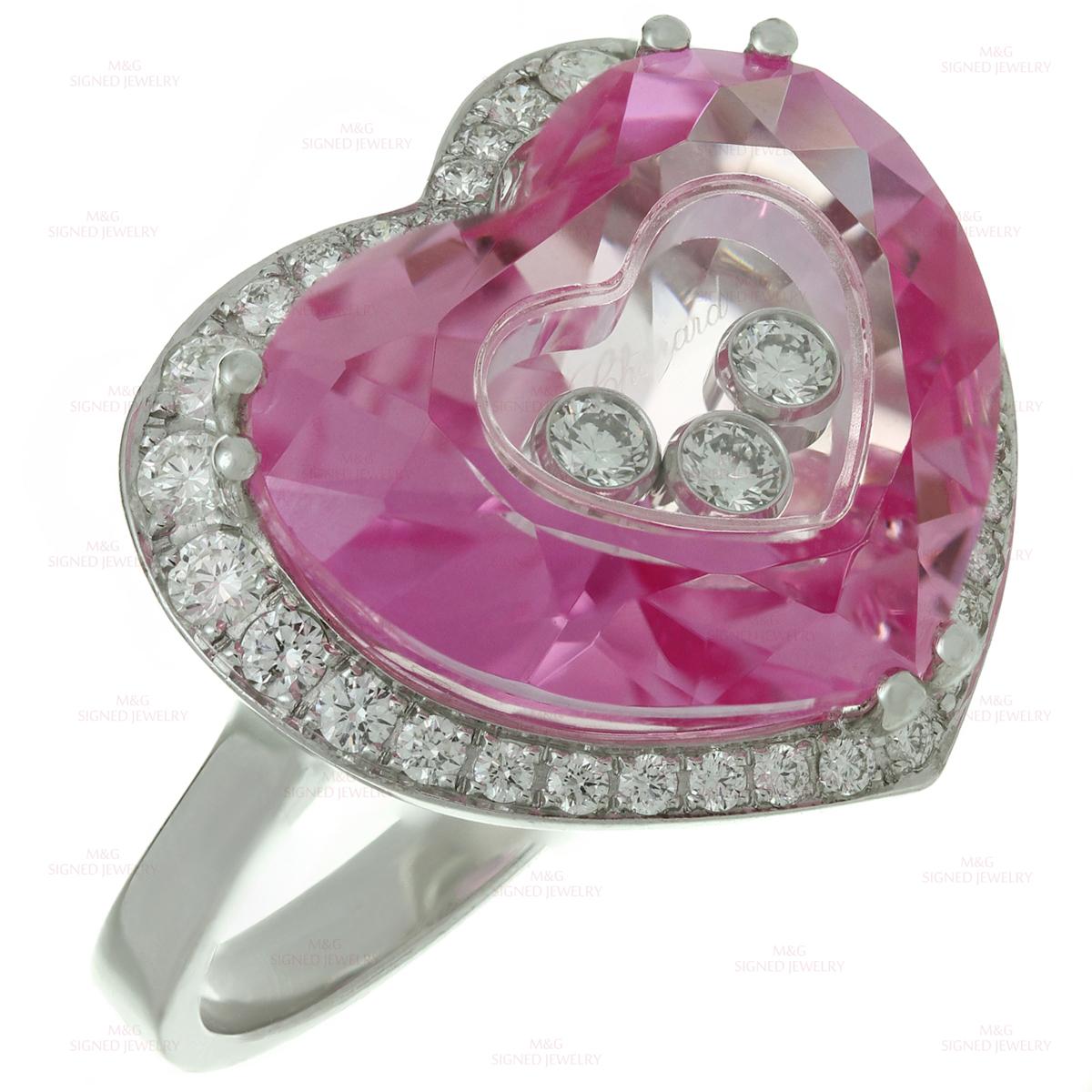 CHOPARD Happy Diamond Pink Quartz 18K White Gold Heart Ring