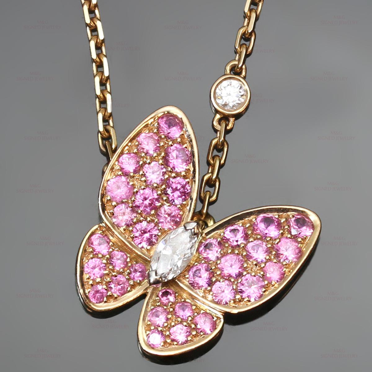VAN CLEEF & ARPELS Diamond Pink Sapphire 18k Gold Butterfly Necklace