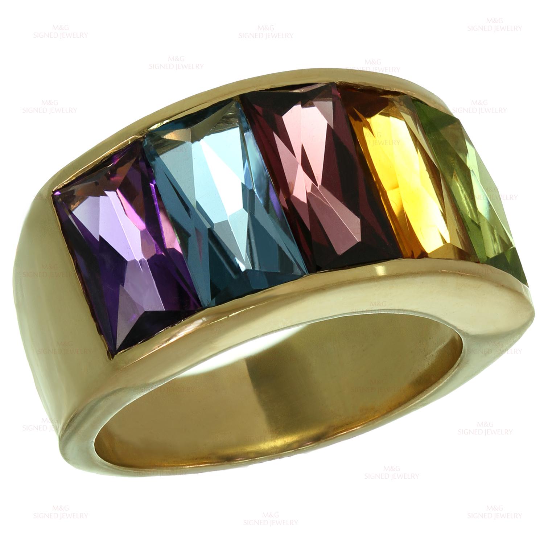 H Stern Multicolor Gemstone Rainbow 18k Yellow Gold Ring