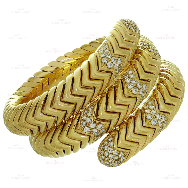 Bulgari Spiga Diamond 18k Yellow Gold Large Model Bracelet