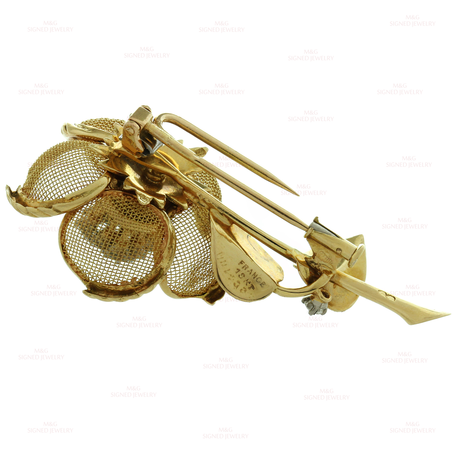 gold vintage c expand to rl cartier clip brooch item full click flower estate yellow