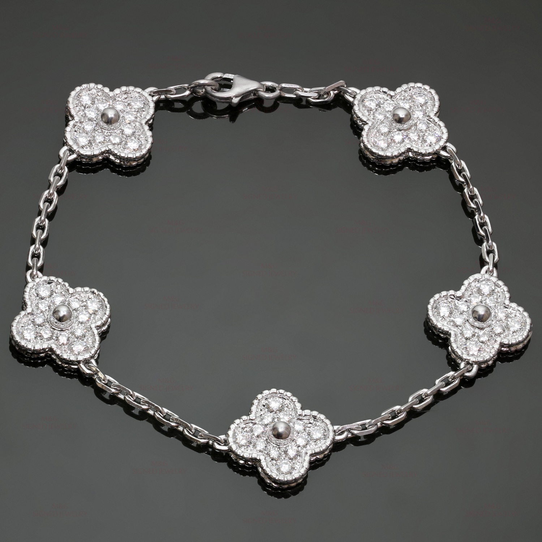 34987783984ed VAN CLEEF   ARPELS Vintage Alhambra Diamond 18k White Gold 5 Motif Bracelet