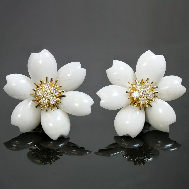 58187575e54 VAN CLEEF   ARPELS Rose De Noel Diamond White Coral Yellow Gold Large  Earrings