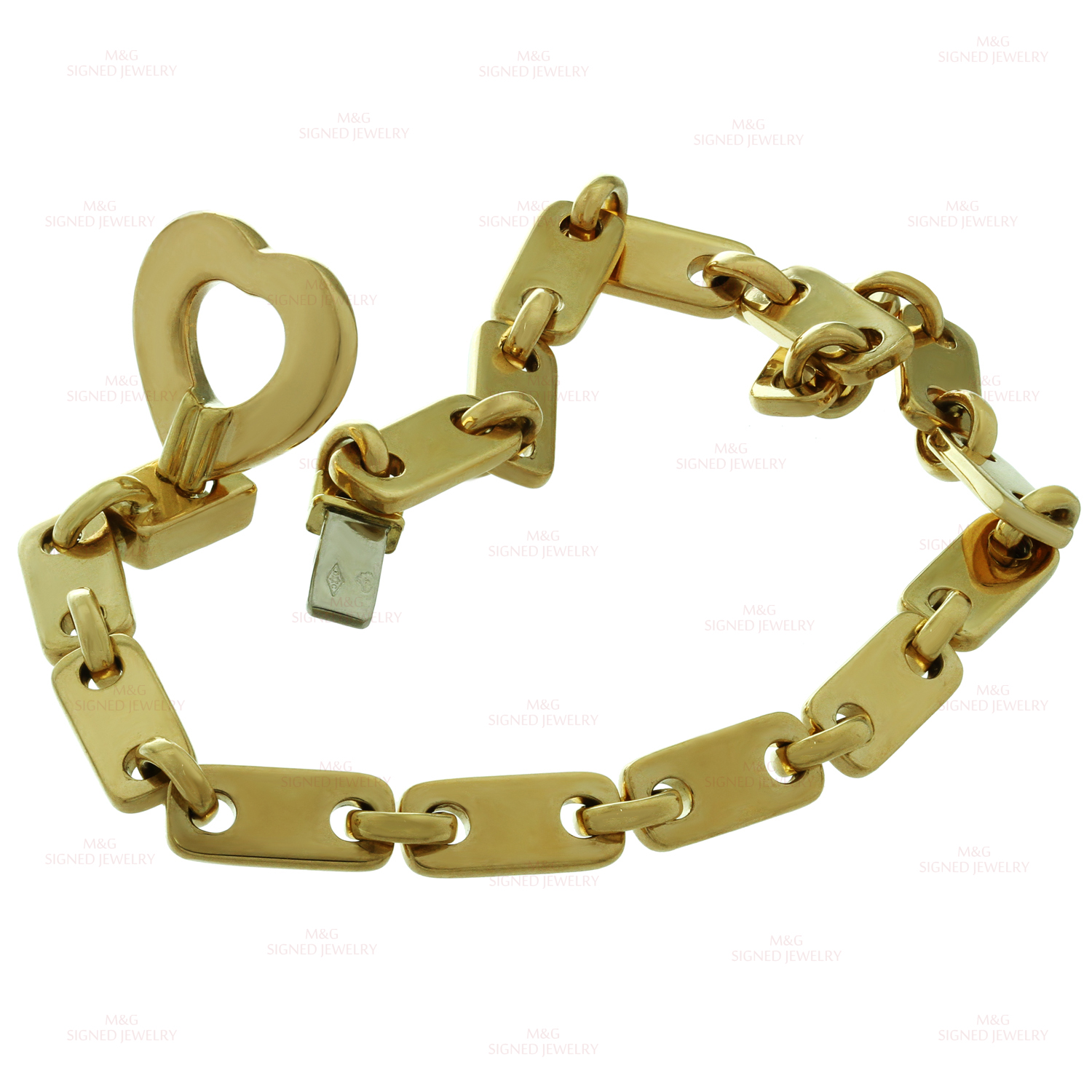 9bf745884b10 CARTIER Fidelity 18k Yellow Gold Heart Key Bar Link Bracelet