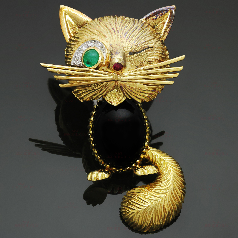 Van Cleef Amp Arpels Chat Malicieux Diamond Emerald Onyx