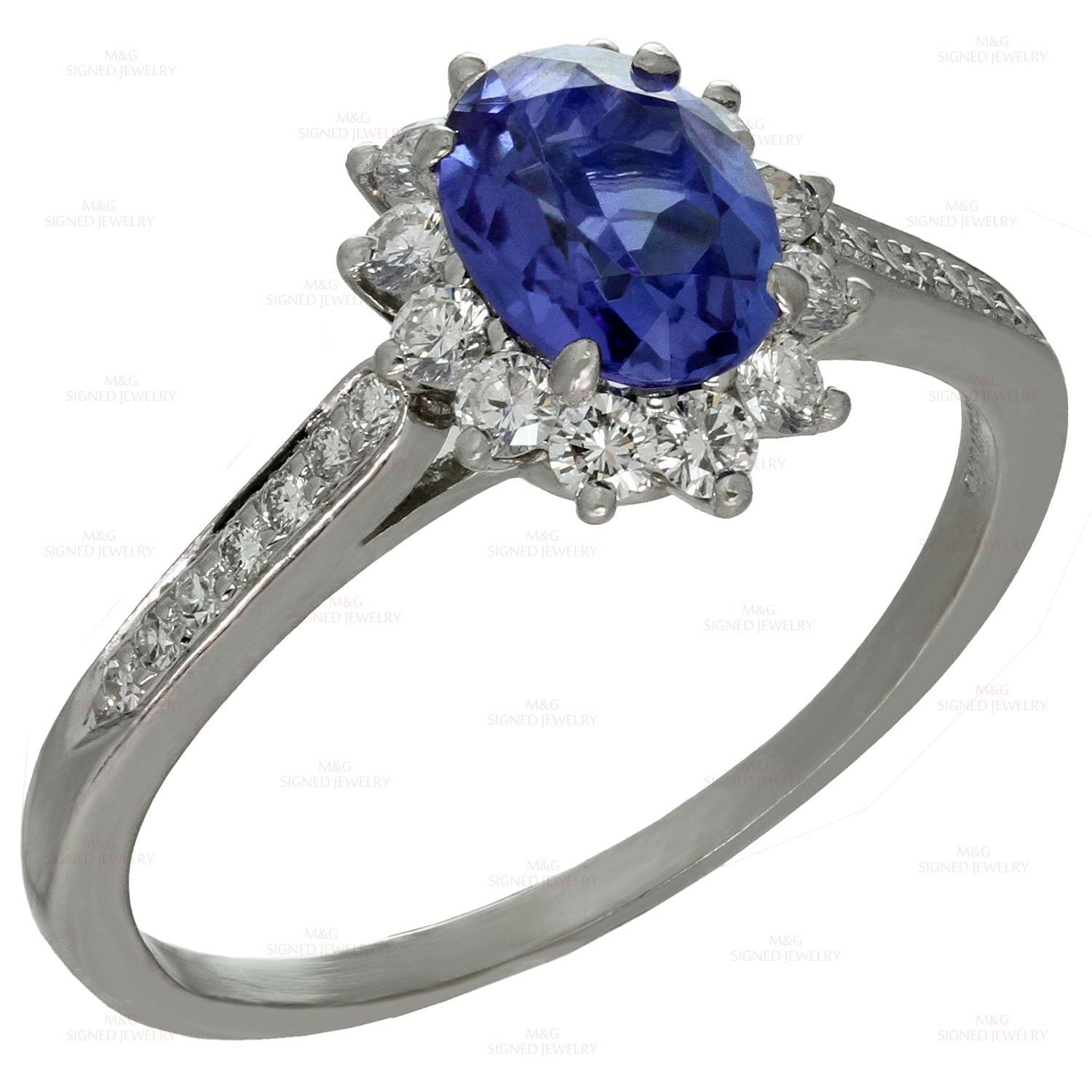 pear diamond platinum in tanzanite pin and ring halo co tiffany