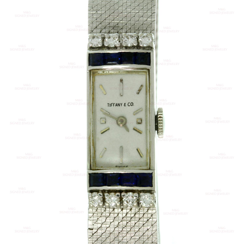 Tiffany Amp Co Vintage Diamond Blue Sapphire White Gold