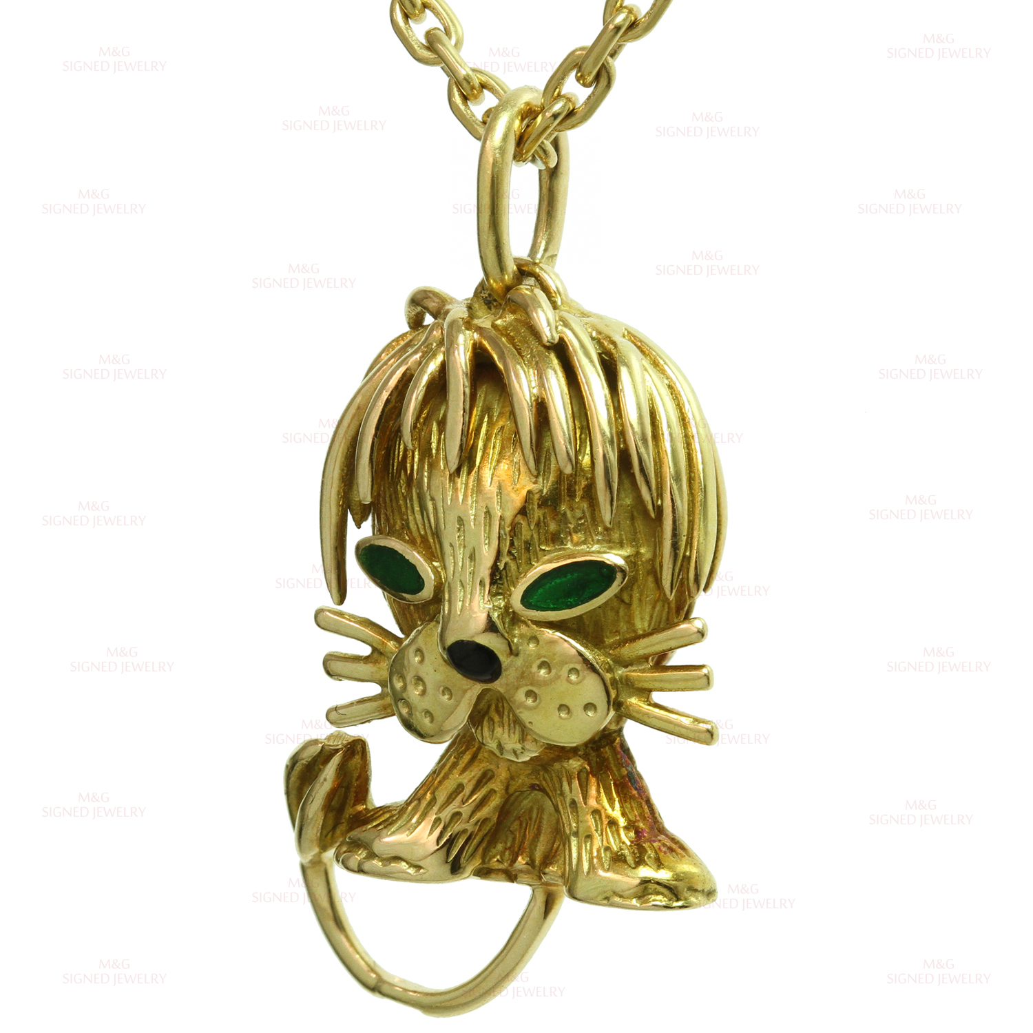 leo pendant jewelry gold necklace lion with necklaces chain the realreal enlarged yellow malachite products