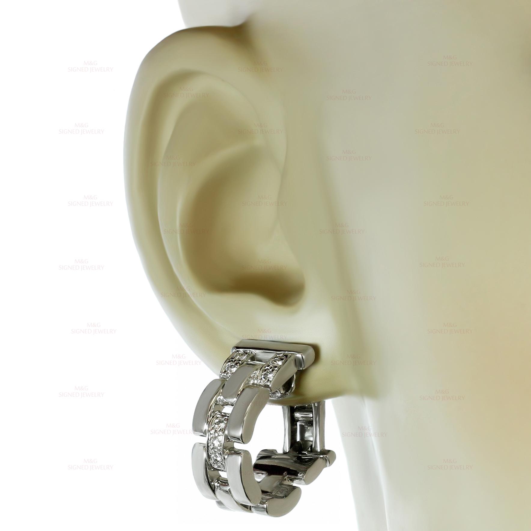 bb342e2484649 CARTIER Maillon Panthere Diamond 18k White Gold Earrings