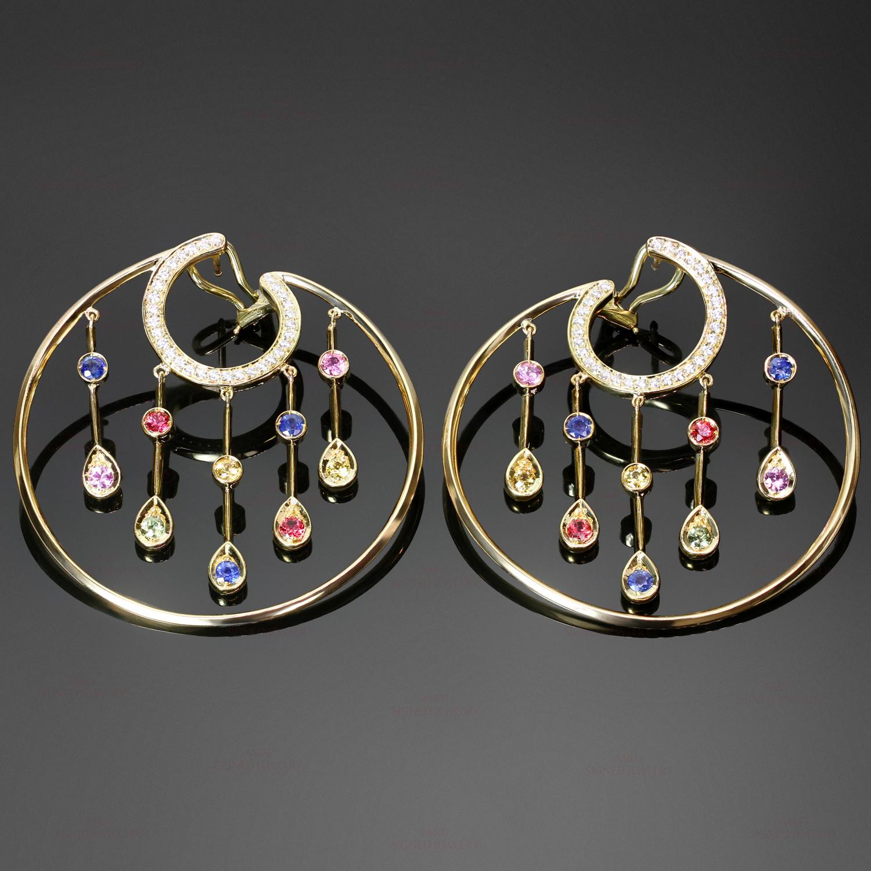 Chanel La Pluie Diamond Sapphire 18k Yellow Gold Hoop Earrings
