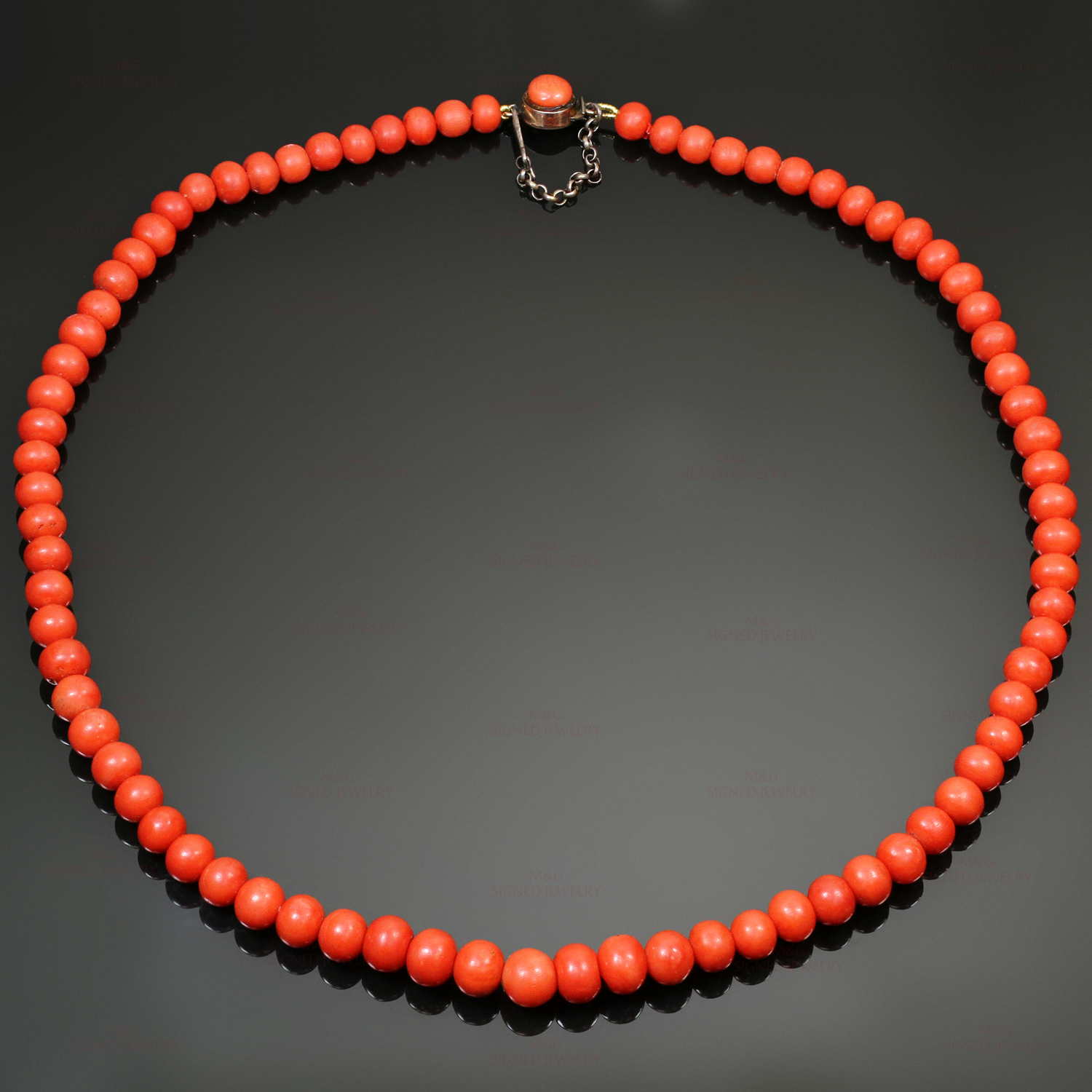 Vintage Natural Red Coral Bead Necklace