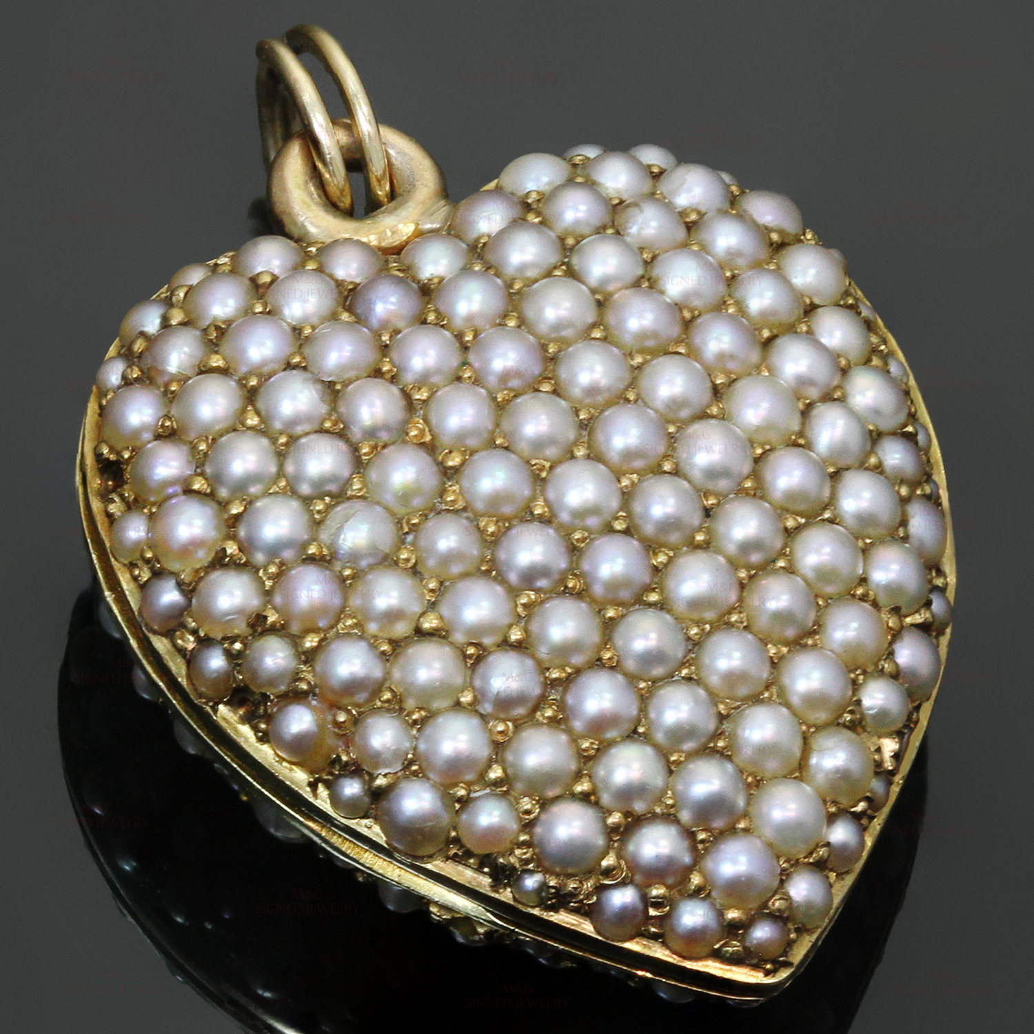 Antique Double Sided Pave Seed Pearl 14k Yellow Gold Heart