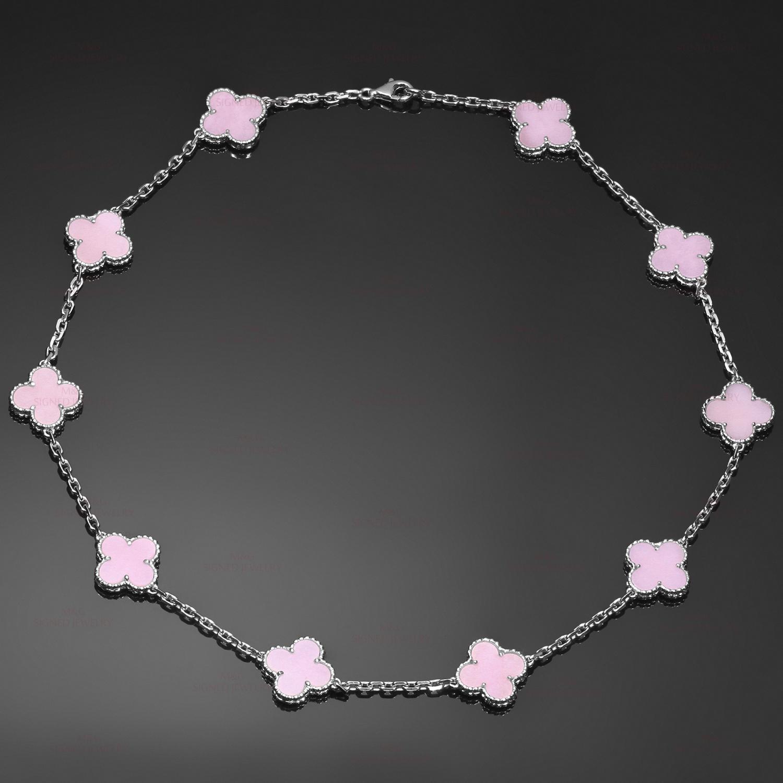 Van Cleef Amp Arpels Alhambra Pink Opal 18k White Gold 10