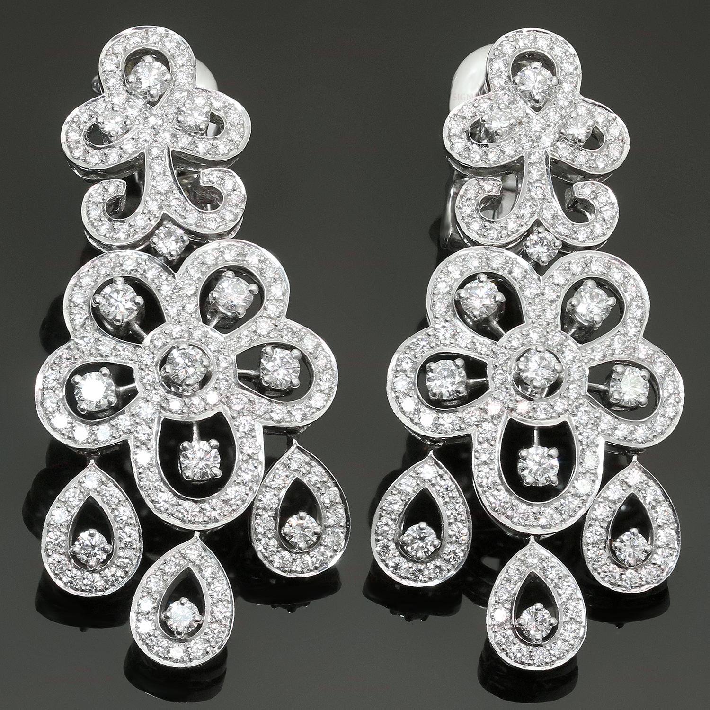 Cleef arpels dentelle diamond 18k white gold chandelier earrings van cleef arpels dentelle diamond 18k white gold chandelier earrings aloadofball Images