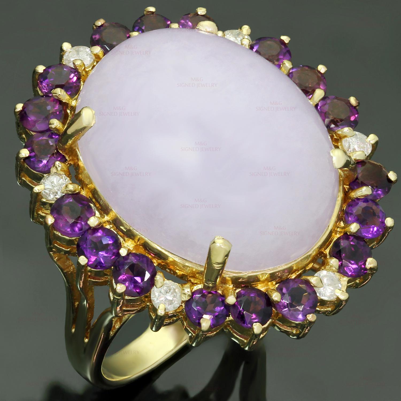Lavender Jadeite Jade Diamond Amethyst 14k Yellow Gold Ring