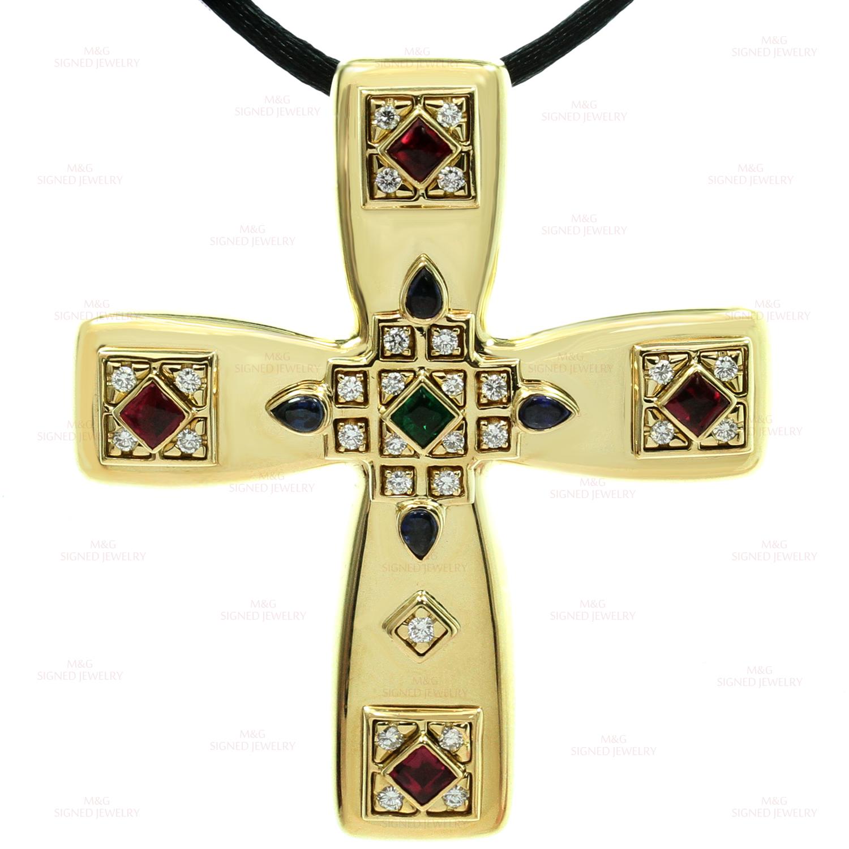 Cartier Byzantine Multicolor Gemstone Diamonds 18k Yellow