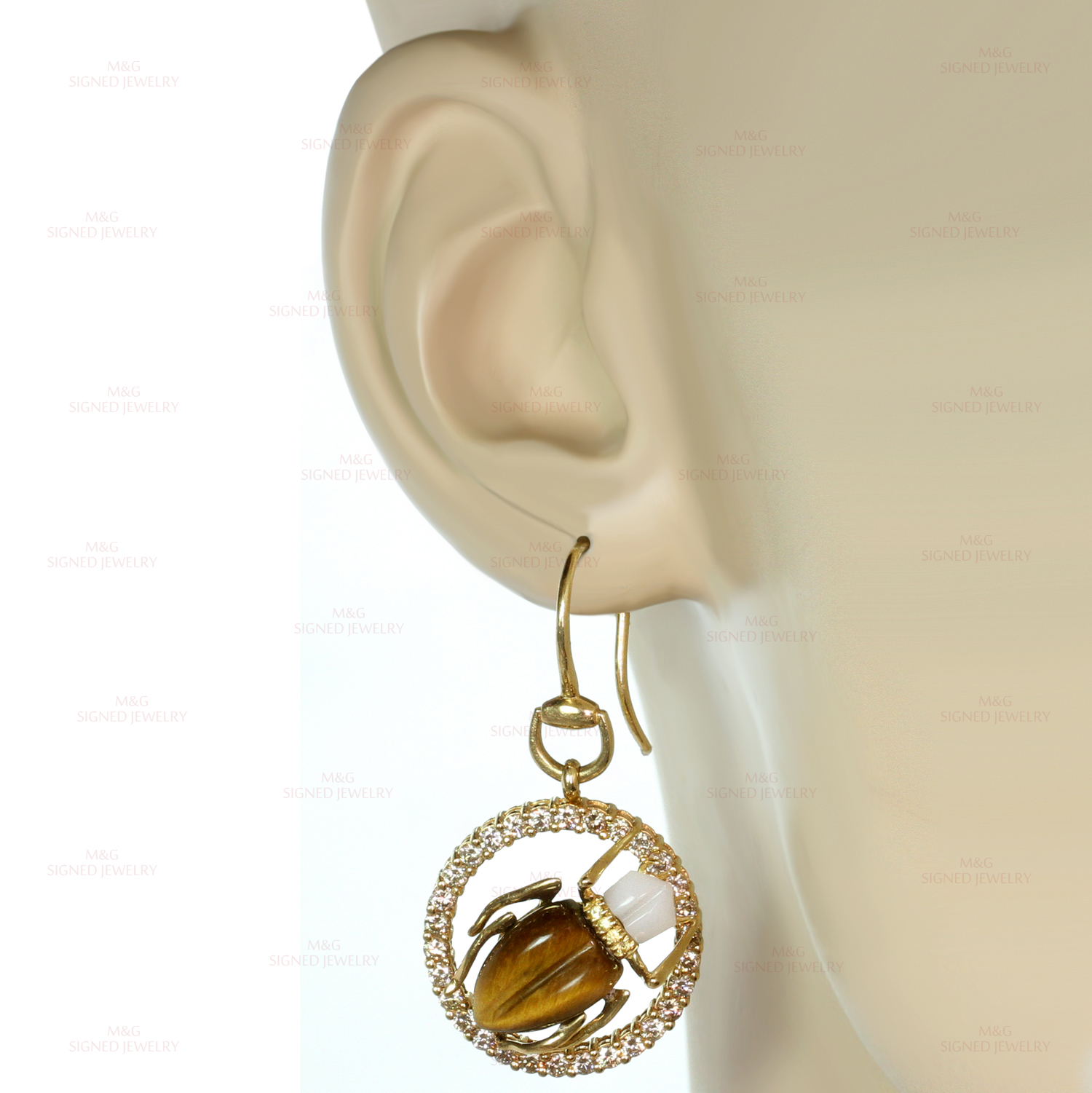 9afbe33d4f91b GUCCI Diamond Gemstone Yellow Gold Scarab Beetle Earrings & Necklace Set