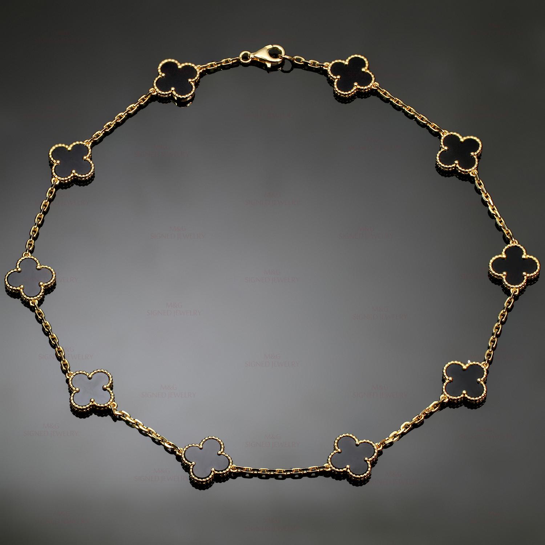 0558740f8fb04 VAN CLEEF   ARPELS Vintage Alhambra 10 Motif Black Onyx 18k Yellow Gold  Necklace Box Papers