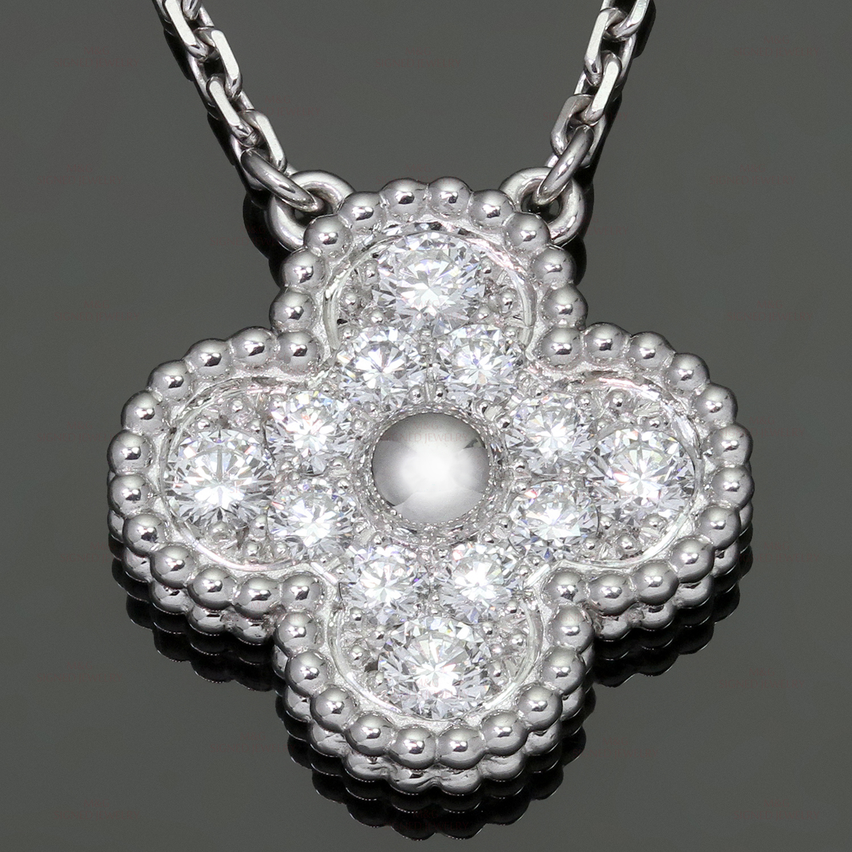 591529626499 VAN CLEEF   ARPELS Vintage Alhambra Diamond 18k White Gold Pendant Necklace  Box Papers