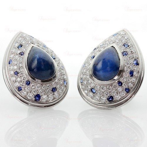 CARTIER Panthere Diamond Blue Sapphire Platinum Clip-on Earrings