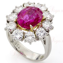 Hand-Made Diamond Ruby Platinum Ring