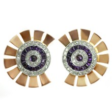 Diamond Amethyst Platinum-Topped 14k Rose Gold Earrings