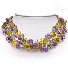Peridot Citrine Amethyst Two-Strand 18k Yellow Gold Necklace