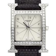 HERMES H HOUR Fctory Diamond Stainless Steel PM Unisex Watch