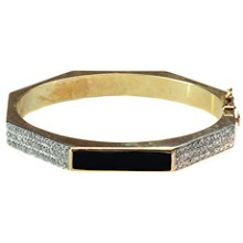 Diamond Black Enamel 14k Yellow Gold Hexagon Bangle Bracelet