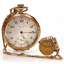 Open Face 14k Yellow Gold Coin Charm Pocket Watch