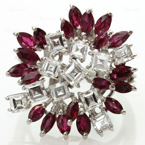 Custom-Made Diamond Ruby 18k White Gold Floral Cluster Ring