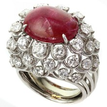 DAVID WEBB Diamond Ruby Platinum Dome Ring GIA