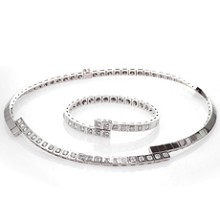 CARTIER Paris Nouvelle Vague Diamond 18k White Gold Necklace & Bracelet