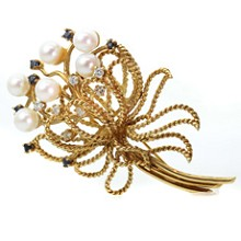 Vintage 18k Yellow Gold Pearl Sapphire Diamond Flower Bouquet Brooch