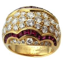 VAN CLEEF & ARPELS Diamond Ruby 18k Yellow Gold Ring