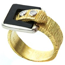 Diamond Black Onyx 14k Textured Gold Unisex Belt-Buckle Ring