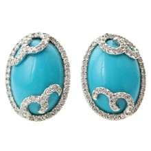 Diamond Oval Arizona Sleeping Beauty Turquoise 18k White Gold Swirl Earrings