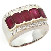 Diamond Ruby 18k White & Yellow Gold Ring