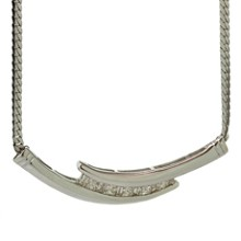 Diamond 14k White Gold Snake Chain Pendant Necklace