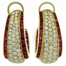 VAN CLEEF & ARPELS Diamond Ruby 18k Yellow Gold Clip-on Earrings