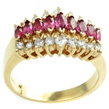Diamond Marquise Ruby 14k Yellow Gold Womens Ring