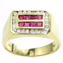 Diamond Ruby 14k Yellow Gold Rectangular Men's Ring
