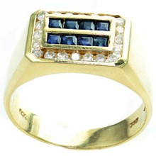 Diamond Blue Sapphire 14k Yellow Gold Rectangular Mens Ring