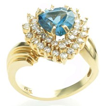 Diamond London Blue Topaz Heart 14k Yellow Gold Ring